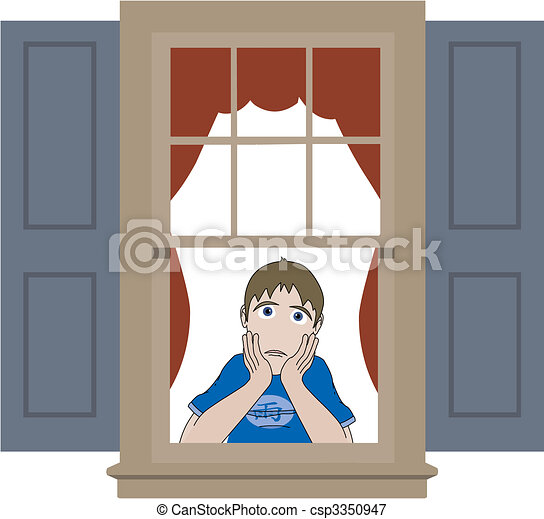 Sad boy leaning in window sill - csp3350947