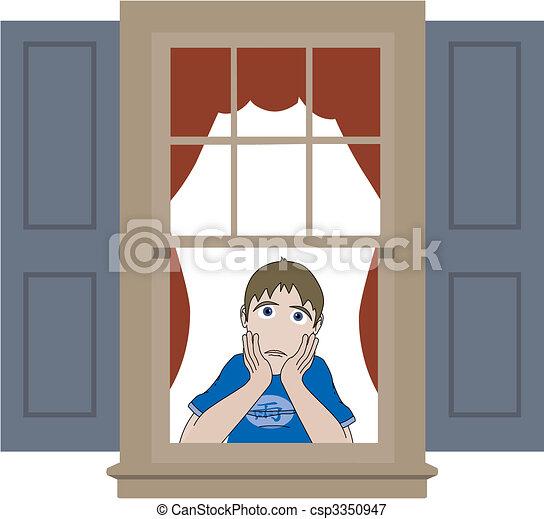 Sad boy leaning in window sill - csp3350947