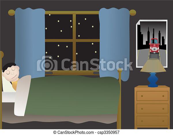 Boy sleeping in bedroom at night near large window - csp3350957