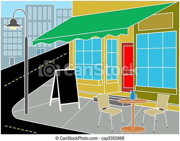 Restaurant entrance on street corner - csp3350968
