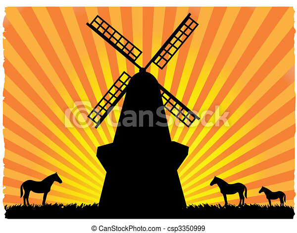 Silhouetted horses in field next to windmill - csp3350999