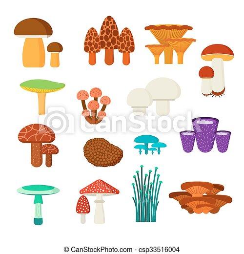 Vector clip art de hongos vector conjunto ilustraci n - Tipos de hongos en la pared ...