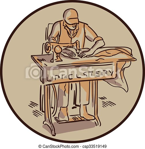 tailor upholsterer sewing machine drawing royalty free
