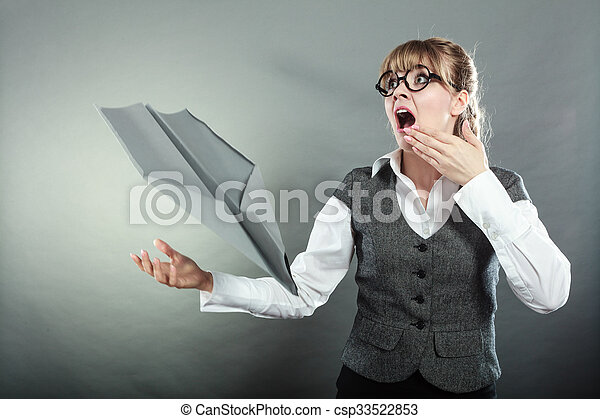 Fly fear metaphor, aerophobia concept. Scared business woman looking airplane falling down.