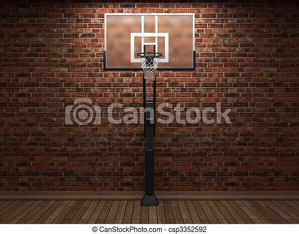 old brick wall and basketball  - csp3352592