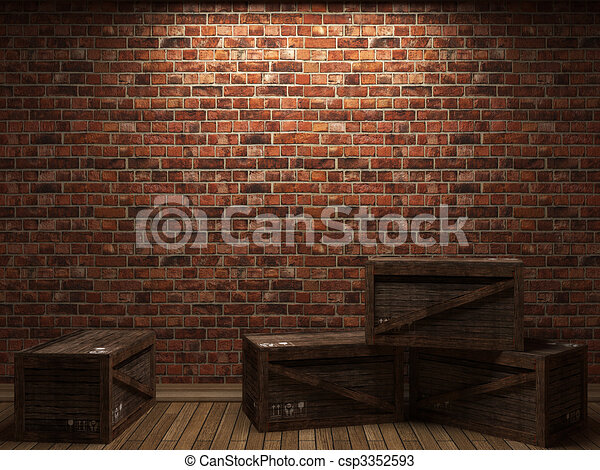 illuminated brick wall and boxes  - csp3352593