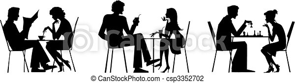Couple silhouettes near table - csp3352702