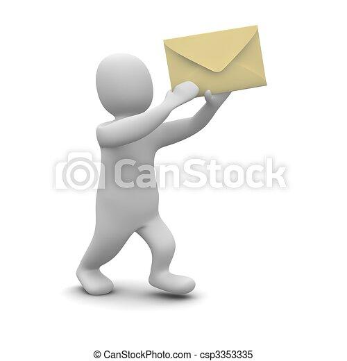 Man carrying envelope with letter. 3d rendered illustration. - csp3353335