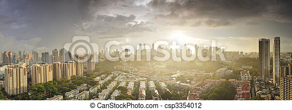Aerial Singapore skyline from Tiong Bahru area at sunrise - csp3354012