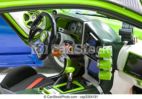 stock photography of sport car interior green tuned sport car interior csp3354191 search. Black Bedroom Furniture Sets. Home Design Ideas