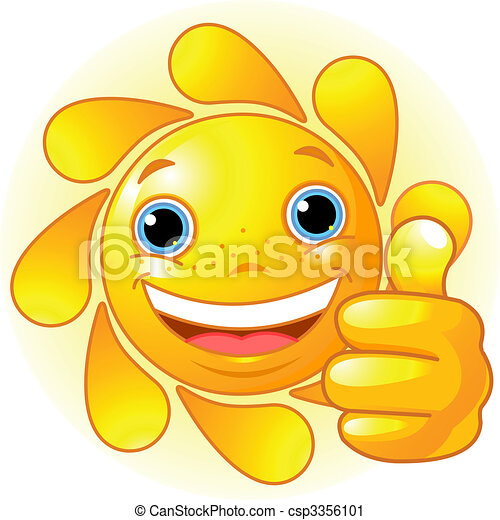 Sun Hand giving thumbs up - csp3356101