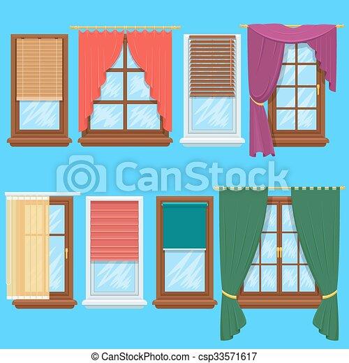 Fenster schließen clipart  Vektor Clipart von vektor, vorhänge, fenster, satz, feste jalousie ...