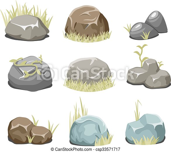 Rocks with grass, stones and green grass on white - csp33571717