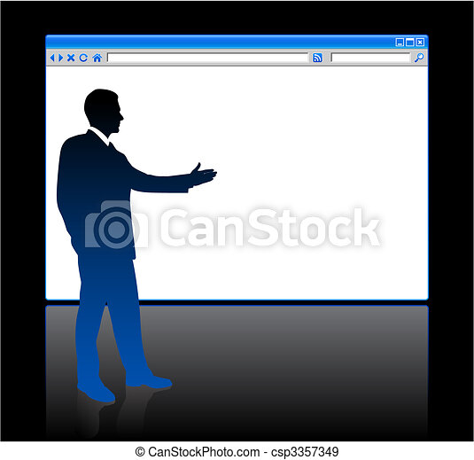 Businessman on background with web browser blank page - csp3357349