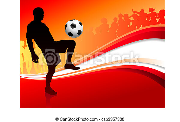Soccer Player on Abstract Red Background - csp3357388