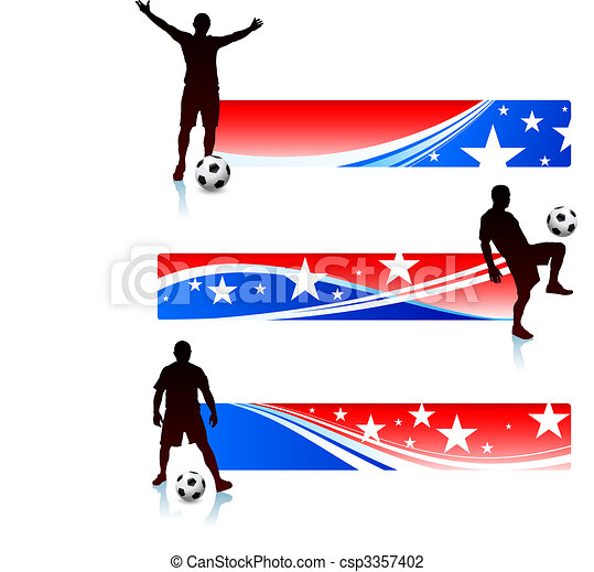 Soccer Players with Patriotic Banners - csp3357402