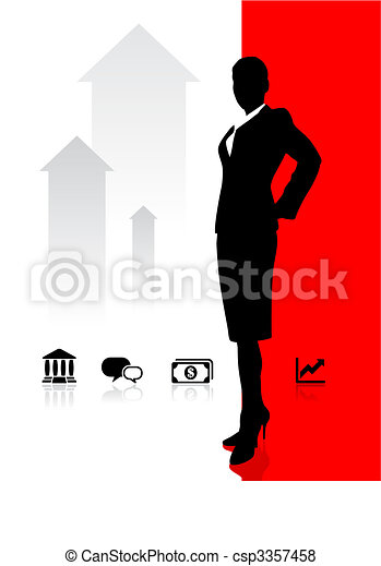 Business woman on background with banking and financial icons - csp3357458