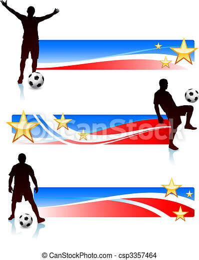 Soccer Players with Patriotic Banners - csp3357464
