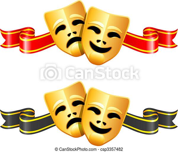 comédia, teatro, máscaras tragédia - csp3357482