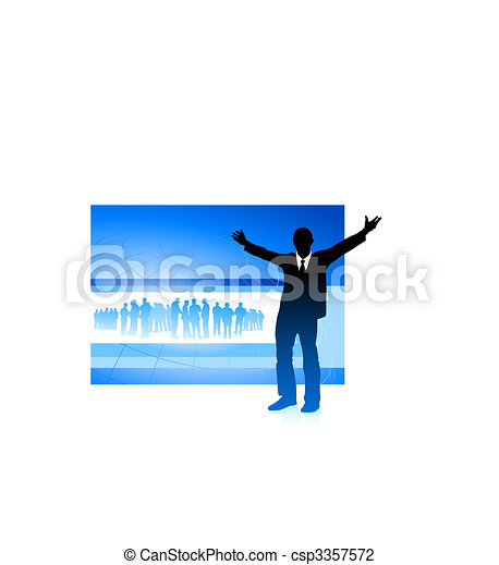 excited businessman on blue internet background - csp3357572