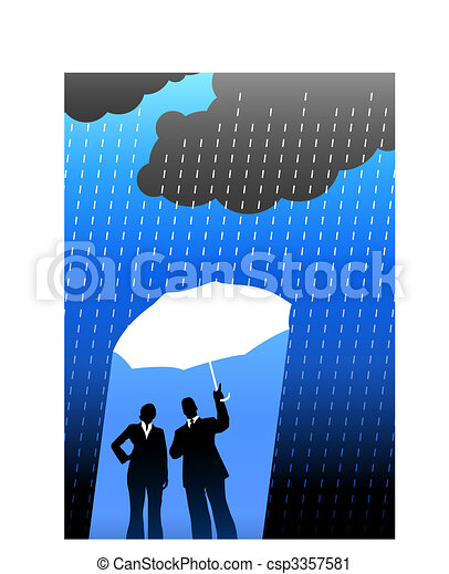 Business insurance background with two people - csp3357581