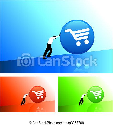 businessman pushing icon uphill - csp3357709