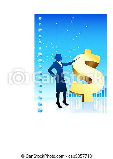Origianl Vector Illustration: Business woman on background with financial charts and golden dollar File is AI8 compatible - csp3357713