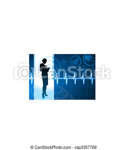 Original Vector Illustration: Businesswoman working with cellphone on internet pulse icon background AI8 compatible - csp3357769