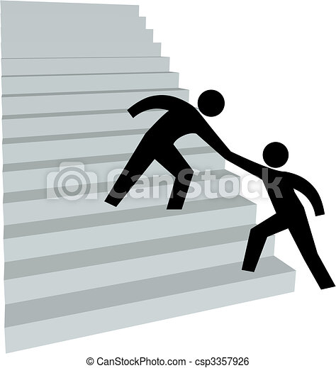 Helping hand to help friend up on stairway to top - csp3357926