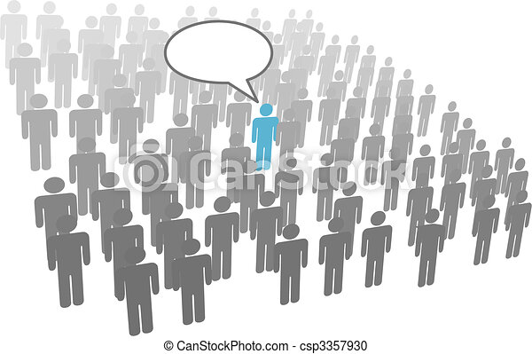 Individual person speech from crowd social group company - csp3357930