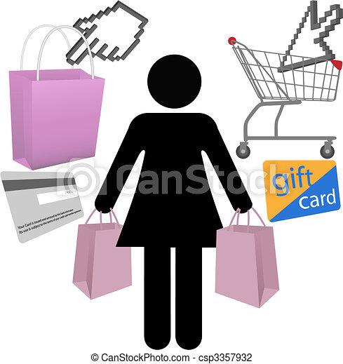 Woman shopper shop buy symbol icons set - csp3357932