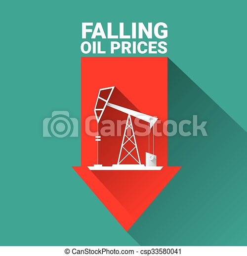 eps vector of oil price falling down graph illustration