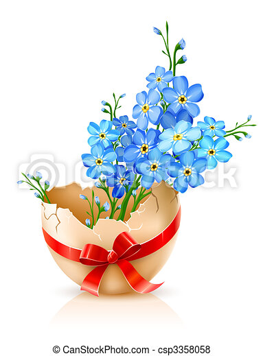 broken egg shell with red bow and forget-me-not flowers - csp3358058
