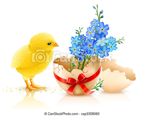 easter holiday illustration with chicken - csp3358060