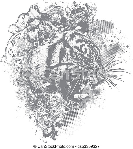 Vector Grunge Tiger Floral Illustra - csp3359327