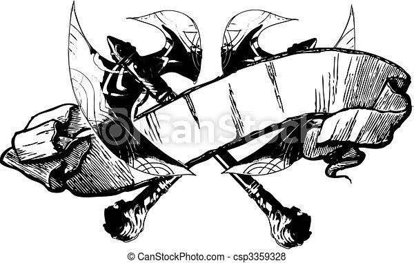 Medieval Battle Axe Drawing Battle Axe Banner Vector