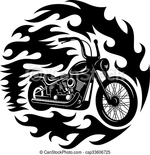 Vector illustration of t shirt print classic chopper for Vector art for t shirts