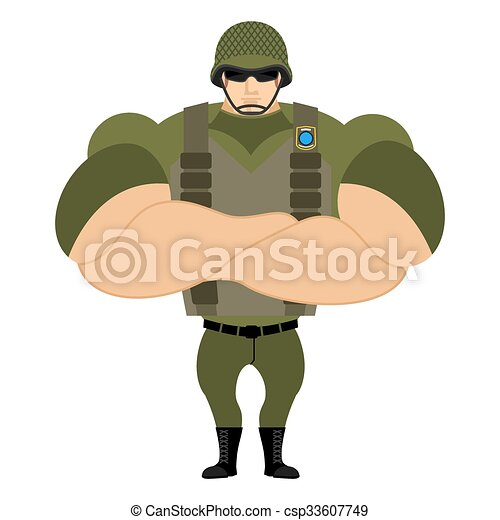 EPS Vector of Soldiers in flak vest. Military helmet. Powerful ...