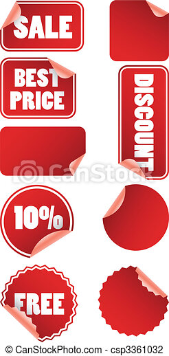 Set of red discount price labels - csp3361032