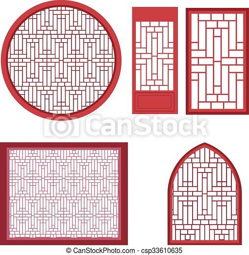 Vektoren von muster fenster t r asiatisch window und for Fenster muster bilder