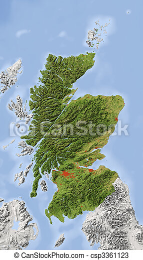 Scotland, shaded relief map - csp3361123