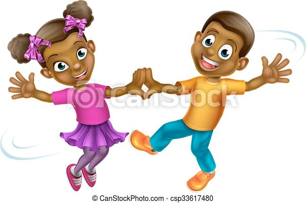 Vector of Cartoon Kids Dancing - Two young cartoon children ...