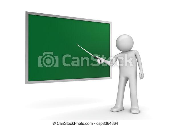 Teacher by the blackboard - csp3364864