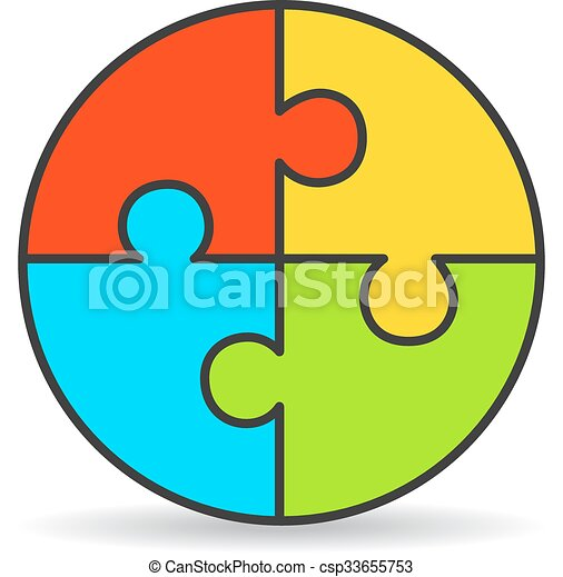 Clipart Vector of Four part process puzzle diagram isolated on ...