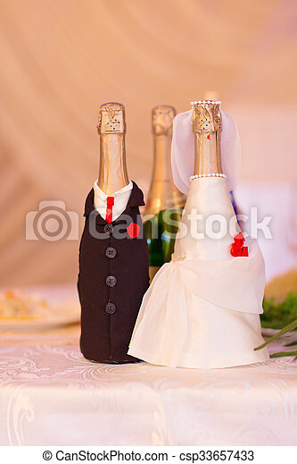 champagne bottles decoration for wedding day. Suits the bride and groom