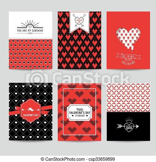 Set of Love Cards - Wedding, Valentine's Day, Invitation - in vector  - csp33659899