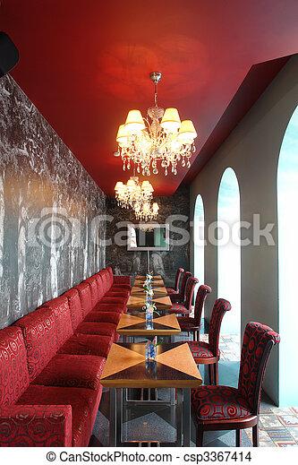interior of restaurant in red color                           - csp3367414