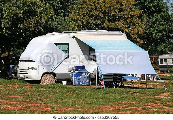 Modern caravan on camp in Croatia - csp3367555