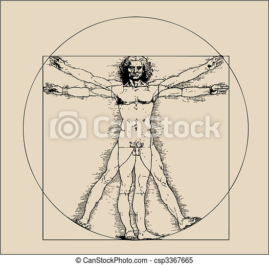 Vitruvian man with crosshatching and sepia tones - csp3367665