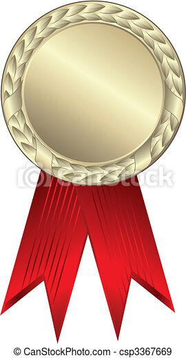 Gold award ribbons - csp3367669